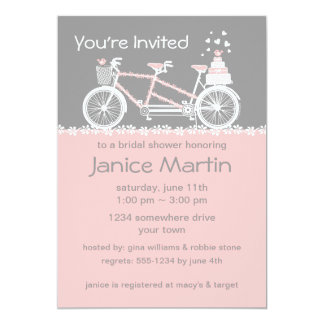 Tandem Bicycle Wedding Shower Invitation