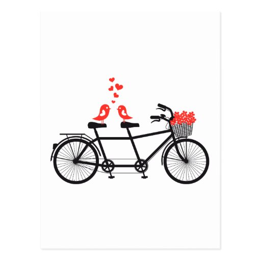 tandem bicycle with cute love birds post cards