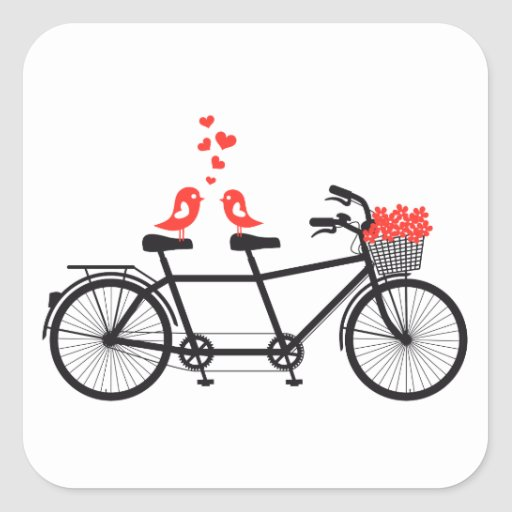 tandem bicycle with cute love birds sticker