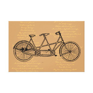 "Tandem Bicycle With Lyrics To ""Daisy Bell"" Stretched Canvas Print"