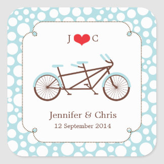 Tandem Bike (Blue Dots) Favor Sticker
