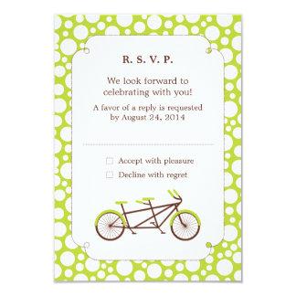 Tandem Bike (Green Dots) RSVP 3.5x5 Paper Invitation Card