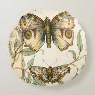 Tandem Butterflies Over Green Leaves Round Cushion