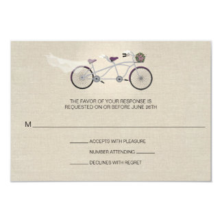 Tandem Plum Bicycle Wedding Faux Linen RSVP Card