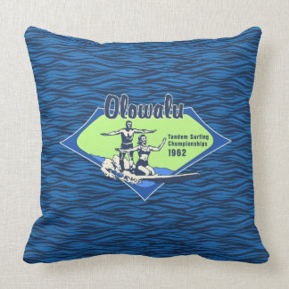 Tandem Surfing Hawaiian Vintage Surf Design Throw Pillow
