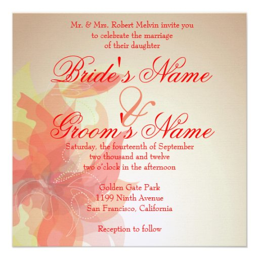 Tangerine Abstract Floral Invite