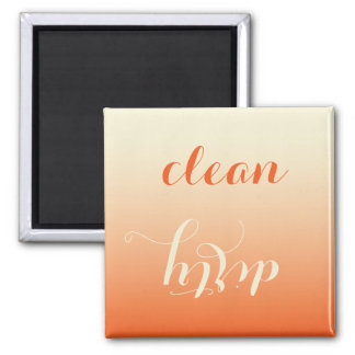 Tangerine and Cream Clean Dirty Dishwasher Magnet