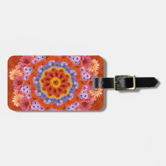 Tangerine and Lavender Kaleidoscope Luggage Tag