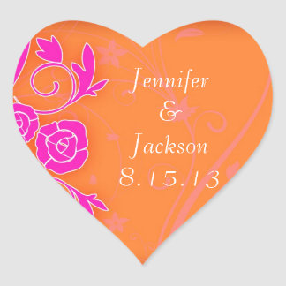 Tangerine and Pink Roses Wedding Stickers