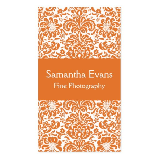 Tangerine and White Damask Business Card
