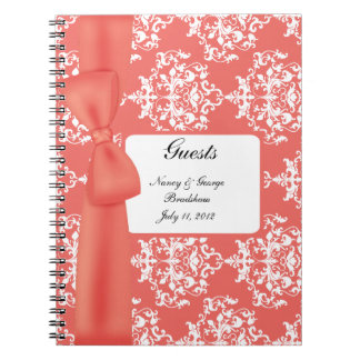 Tangerine and White Damask Guest Sign In Notebook