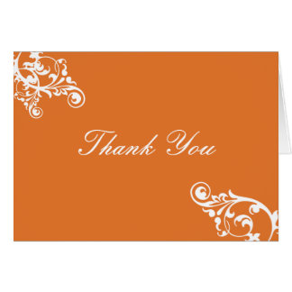 Tangerine and White Flourish Thank You Note Note Card