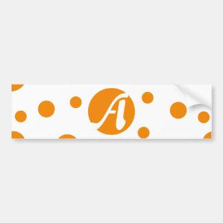 Tangerine and White Polka Dots Monogram Bumper Sticker