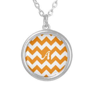 Tangerine and White Zigzag Monogram Pendants