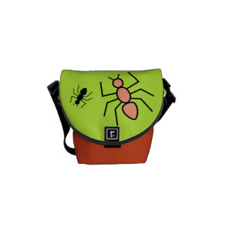 Tangerine & Black Vector Ants (Green Background) Courier Bag