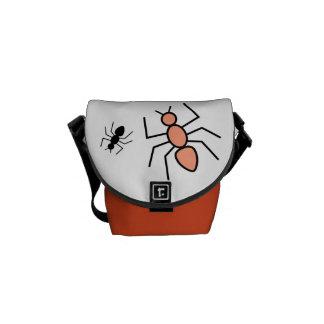 Tangerine Black Vector Ants Messenger Bags