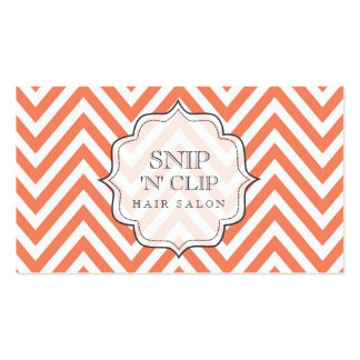 Tangerine Chevron Filigree Hair Stylist Cards Pack Of Standard Business Cards