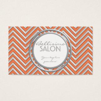 Tangerine  - Chevron Pattern Modern Stripe Zig Zag Business Card