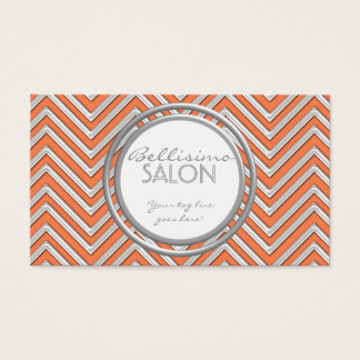 Tangerine  - Chevron Pattern Modern Stripe Zig Zag Business Card