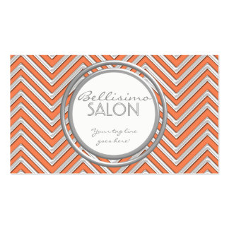 Tangerine  - Chevron Pattern Modern Stripe Zig Zag Pack Of Standard Business Cards
