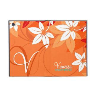 Tangerine Floral Monogram Folio iPad Mini Case