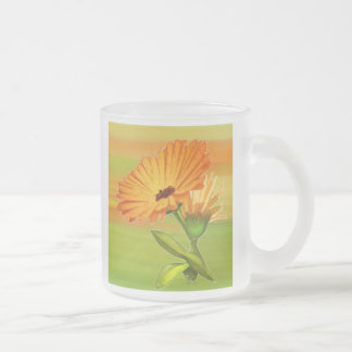 Tangerine Gerbera Daisies Frosted Glass Mug