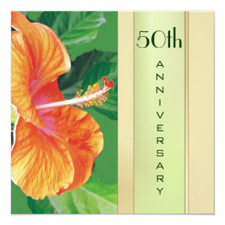 Tangerine Hibiscus 50th Wedding Anniversary 13 Cm X 13 Cm Square Invitation Card