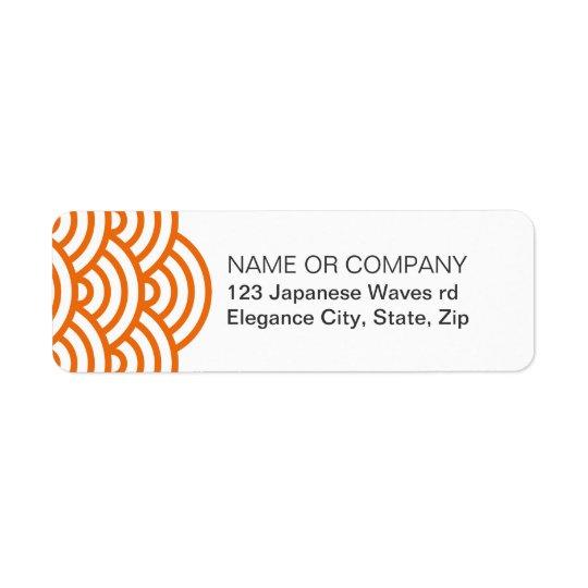 Tangerine Japanese wave return address label