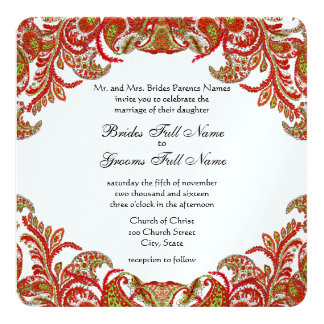 Tangerine Lime Vintage Peacock Damask Wedding Card