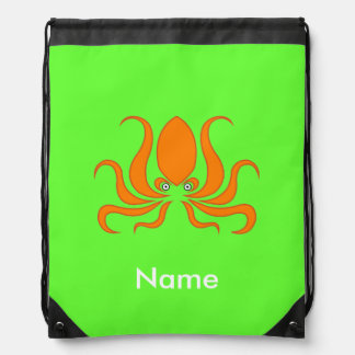 Tangerine Octopus Octopi Personalized Green Drawstring Bag