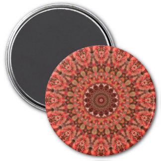 Tangerine Orange and Brown Mandala Kaleidoscope 7.5 Cm Round Magnet
