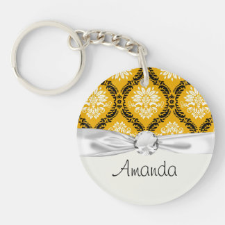 tangerine orange black white ornate damask Single-Sided round acrylic key ring