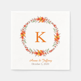 Tangerine Orange Floral Wreath Monogram Wedding Paper Napkins