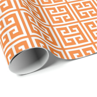 Tangerine Orange Greek Key Pattern Wrapping Paper