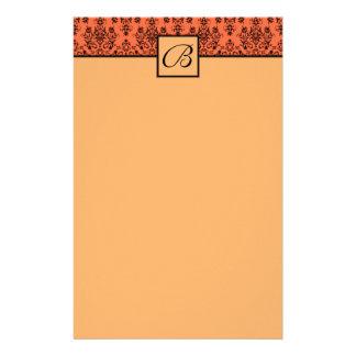 Tangerine Orange Monogrammed Wedding Stationary Personalized Stationery
