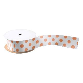 Tangerine Orange Polka Dots Circles Satin Ribbon