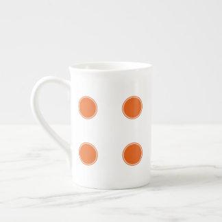 Tangerine Orange Polka Dots on White Tea Cup
