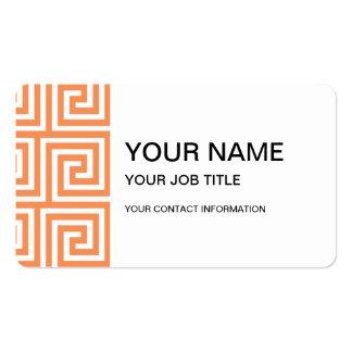 Tangerine Orange White Greek Key Pattern Business Card Template