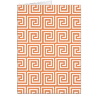 Tangerine Orange White Greek Key Pattern Card