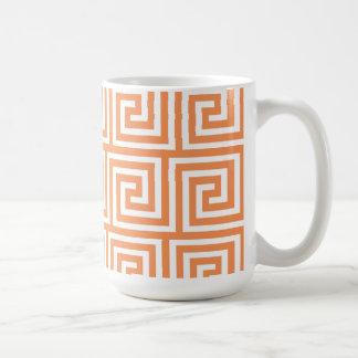 Tangerine Orange White Greek Key Pattern Coffee Mug