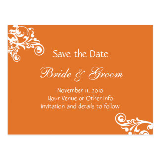 Tangerine Personalized Flourish Save the Date Postcard