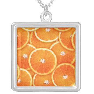 Tangerine slices square pendant necklace