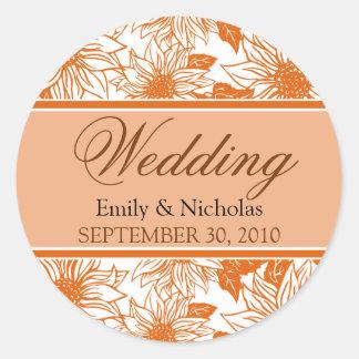 Tangerine Sunflowers Wedding Invitation Seal Round Sticker