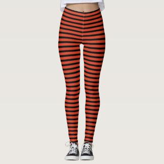 Tangerine Tango and Black Stripes Leggings
