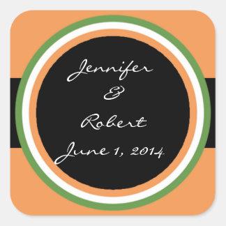 Tangerine Tango Green Circle Wedding Envelope Seal Square Sticker