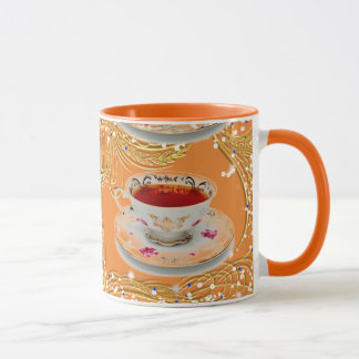 TANGERINE TEACUP COFFEE CUP