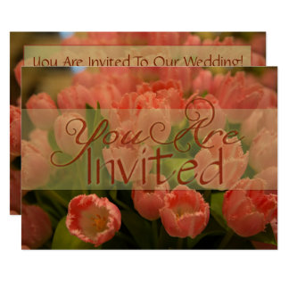 Tangerine Tulips Spring Wedding Invitation