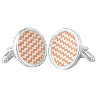 Tangerine White Chevron Pattern Cufflinks