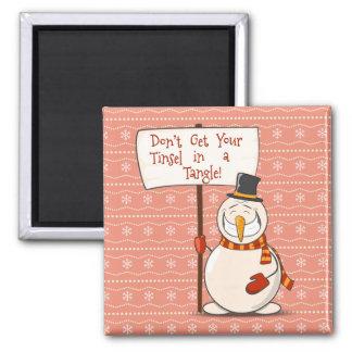 Tangled Tinsel Snowman Magnet