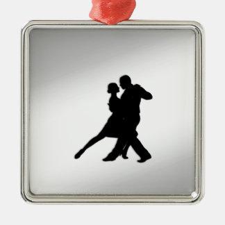 Tango Dancers Silhouette Metal Ornament